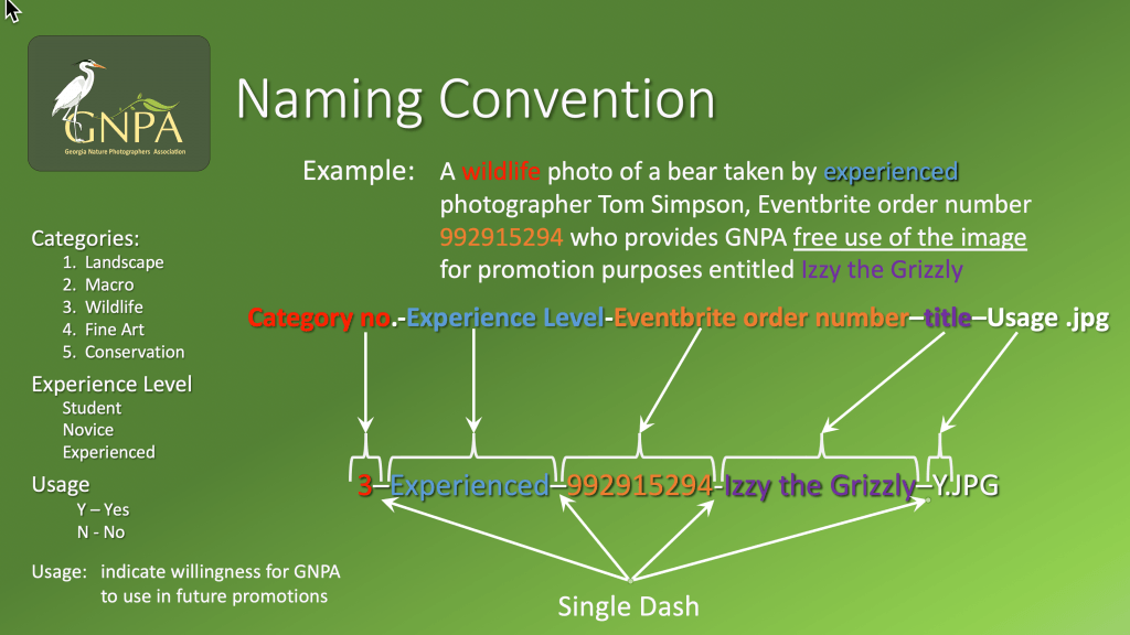 Naming convention for entries